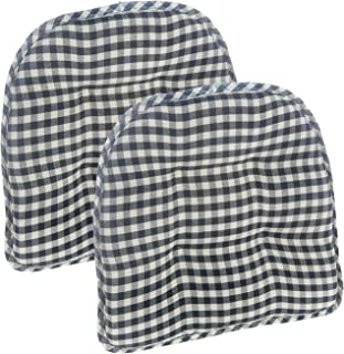 Klear Vu Gingham Tufted No Slip Dining Chair Pad, Set of 2 Cushions, 16