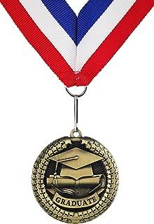GraduationMall Zinc Alloy Graduation Souvenir Medal with Ribbon