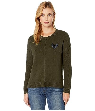 Tribal Drop Shoulder Crop Sweater w/ Patch (Dark Leaf) Women