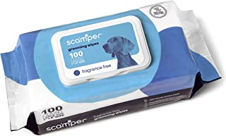 Scamper Grooming Pet Wipes, Dog Wipes - Fragrance Free, Hypoallergenic Pet Wipes for Dogs & Cats, Pack of 100