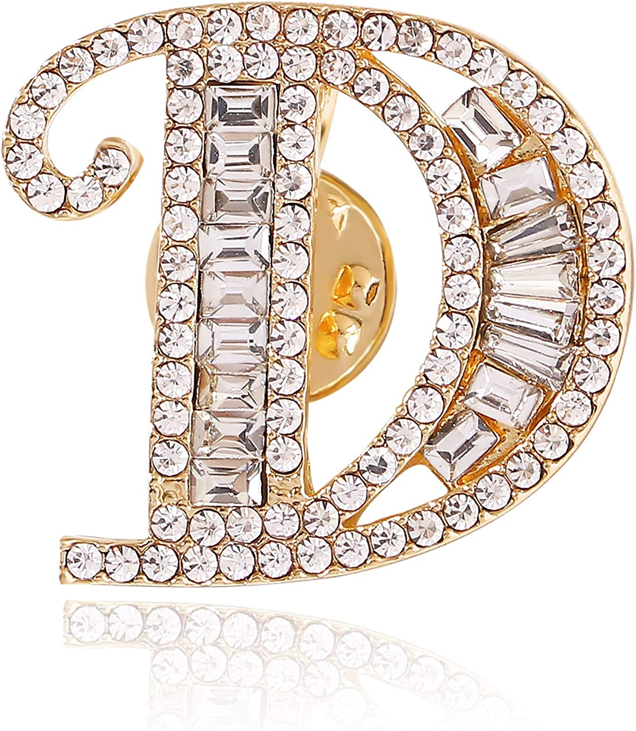 2 in 1 Gold Initial Letter Alphabet Crystal Rhinestone Brooch Pin Necklace Set