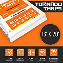 15x16 Ripstop Tarp 8 Mil 8 Mil Thick 100/% Virgin HDPE No Recycled Material Used with Rust-Proof Brass Grommets