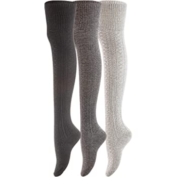 Women's 3 Pairs Thigh High Cotton Socks JM1025 Size 6-9