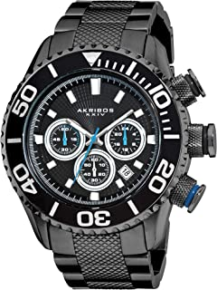 Akribos XXIV Men's 'Conqueror' Large Diver's Watch - 165 Feet Water Resistant Chronograph 3 Subdials with Date Window on Heavy Duty Bracelet - AK512