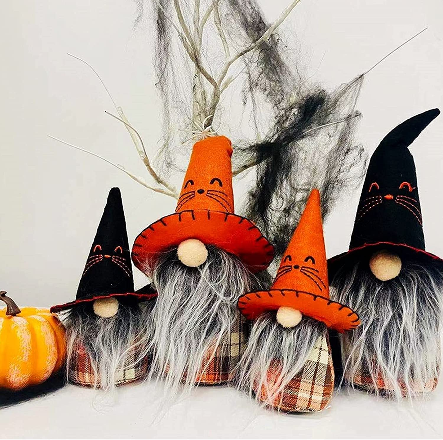 Fonder Mols Halloween Witch Gnomes Plush Decor(Pumpkin Check, 4pcs), Nordic Faceless Elf Doll w/ Cat Hat, Farmhouse Halloween Fall Thanksgiving Day Dwarf Home Household Gifts