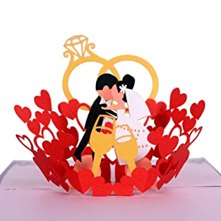 CutePopup 3D Wedding Bride and Groom Kiss Pop Up Wedding Card Handmade Greeting Card - Ideal for Wedding Invitation, Valentine Day, Wedding Anniversaries with Envelop