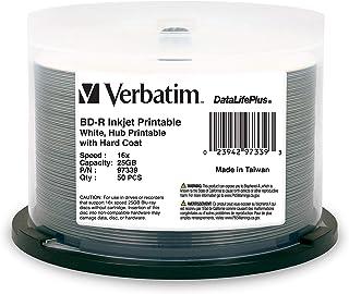 Verbatim BD-R 25GB 6X DataLifePlus White Inkjet Printable, Hub Printable 25GB - White Inkjet 50pk Spindle White