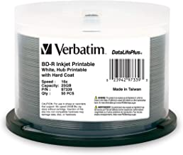 Verbatim BD-R 25GB 16X DataLifePlus White Inkjet Printable, Hub Printable - 50pk Spindle