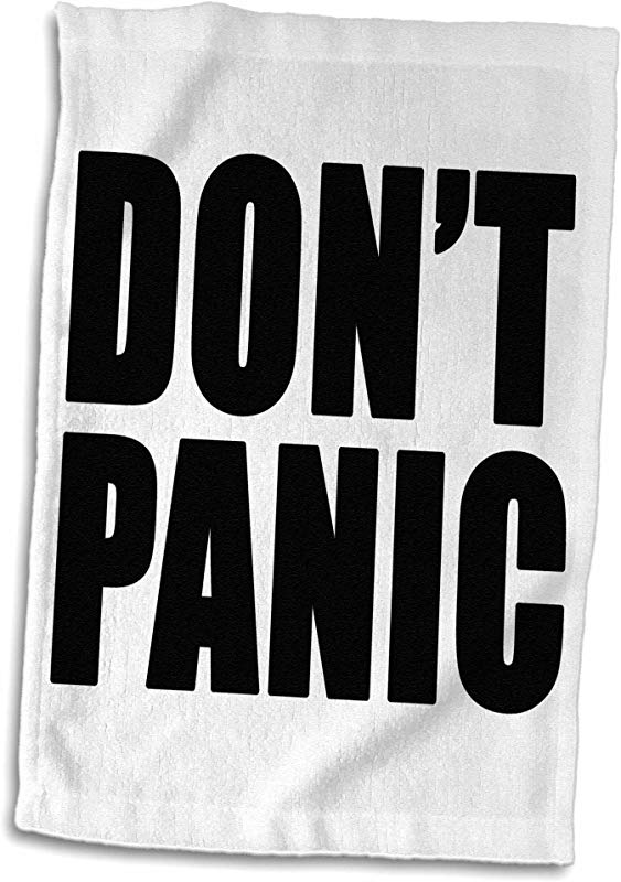 3D Rose Don T Don T Panic Hand Towel 15 X 22 Black