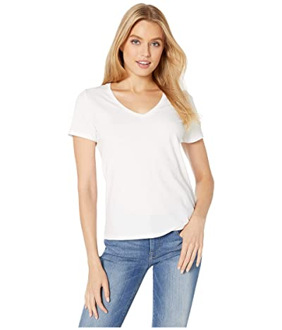 Majestic Filatures Cotton Silk Touch Short Sleeve V-Neck Tee (Blanc) Women