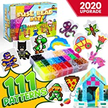 GoodyKing Fuse Beads Kit for Kids - 5mm Pixel Art Melty Plastic Beads Set for Arts and Crafts - 111 Patterns, 5500 Beads, 21 Assorted Colors Plus Glow in The Dark Heat Fusing Beads Crafting Activity