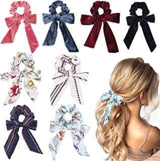 WATINC 8Pcs Bowknot Hair Scrunchies Chiffon Velvet Scarf Hair Ties with Solid Color Flowers Elastic Hair Bows for Ponytail Holder 2 in 1 Vintage Hair Accessories Ropes Scrunchie for Women
