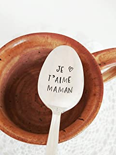 Je T'aime Maman - Hand Stamped Spoon - Gift For Mother - Engraved Teaspoon - Mother's Day Gift - Valentine's Day