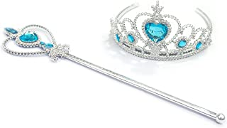 Kuzhi Frozen Elsa Crown Tiara and Wand Set ¨C Silver Heart Jewel ¡