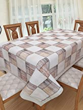Clasiko 6 Seater PVC Table Cover; Sophisticated Brown & Maroon Checks; Anti Slip; 60x90 Inches; 6 Seater