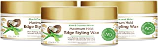 African Pride Moisture Miracle Maximum Hold Edge & Hair Styling Wax (3 Pack), Enriched with Aloe & Coconut, Controls Edges...