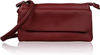 Befen Leather Wristlet Clutch Smartphone Crossbody Wallet with Card Slots/Shoulder Strap/Wrist Strap (Jester Red Large)