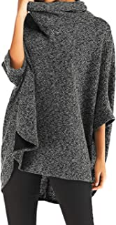 Arctic Cubic Poncho Cape Style Long Sleeve Cowl Neck Batwing Dolman Sleeve High Low Irregular Hem Sweater Jumper Top