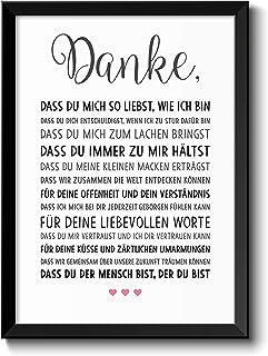 Danke Liebe Geschenke für Frauen Bild im schwarzem Holz Rahmen Geschenkidee Weihnachtsgeschenke für Frauen und Männer zu W...