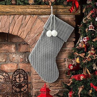S-DEAL - Calcetín de Navidad de punto gris de 20.9in para decoración de mantel, doble capa, con soporte de regalo para fiestas, familiares, vacaciones de Navidad
