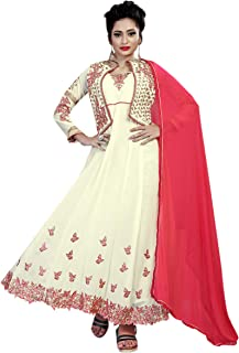 Ethnic Empire Women's Georgette Semi Stitched Salwar Suit(Ethnic_ER106132_ Cream_Free Size)