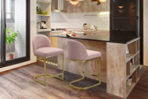 Iconic Home Xander Counter Stool Chair PU Leather Upholstered Armless Design Half-Moon Gold Plated Solid Metal U-Shaped Base Modern Contemporary, Blush