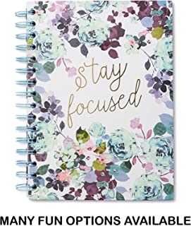 Small Hardcover Journal Notebook Notepad: Tri-Coastal Design Lined Spiral Notebooks/Journals with Cute Cover Design and Phrase - Personal Diary for Writing Notes in and Journaling (Stay Focused)