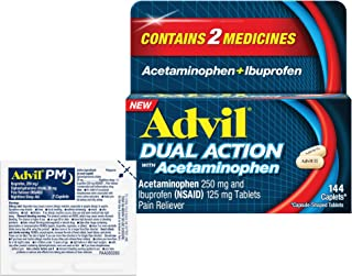 Advil Dual Action Coated Caplets with Acetaminophen and Ibuprofen, 146 Piece Assortment