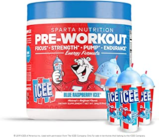 Sparta Nutrition Pre-Workout Fully Loaded Formula Supporting Energy, Mood, and Focus, Blue Raspberry ICEE, 20 Serving