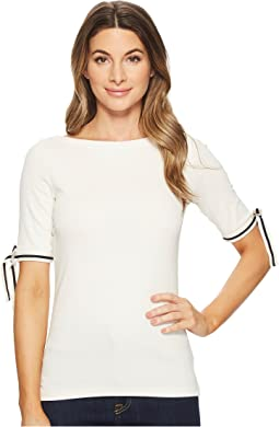 Tie-Sleeve Cotton Top