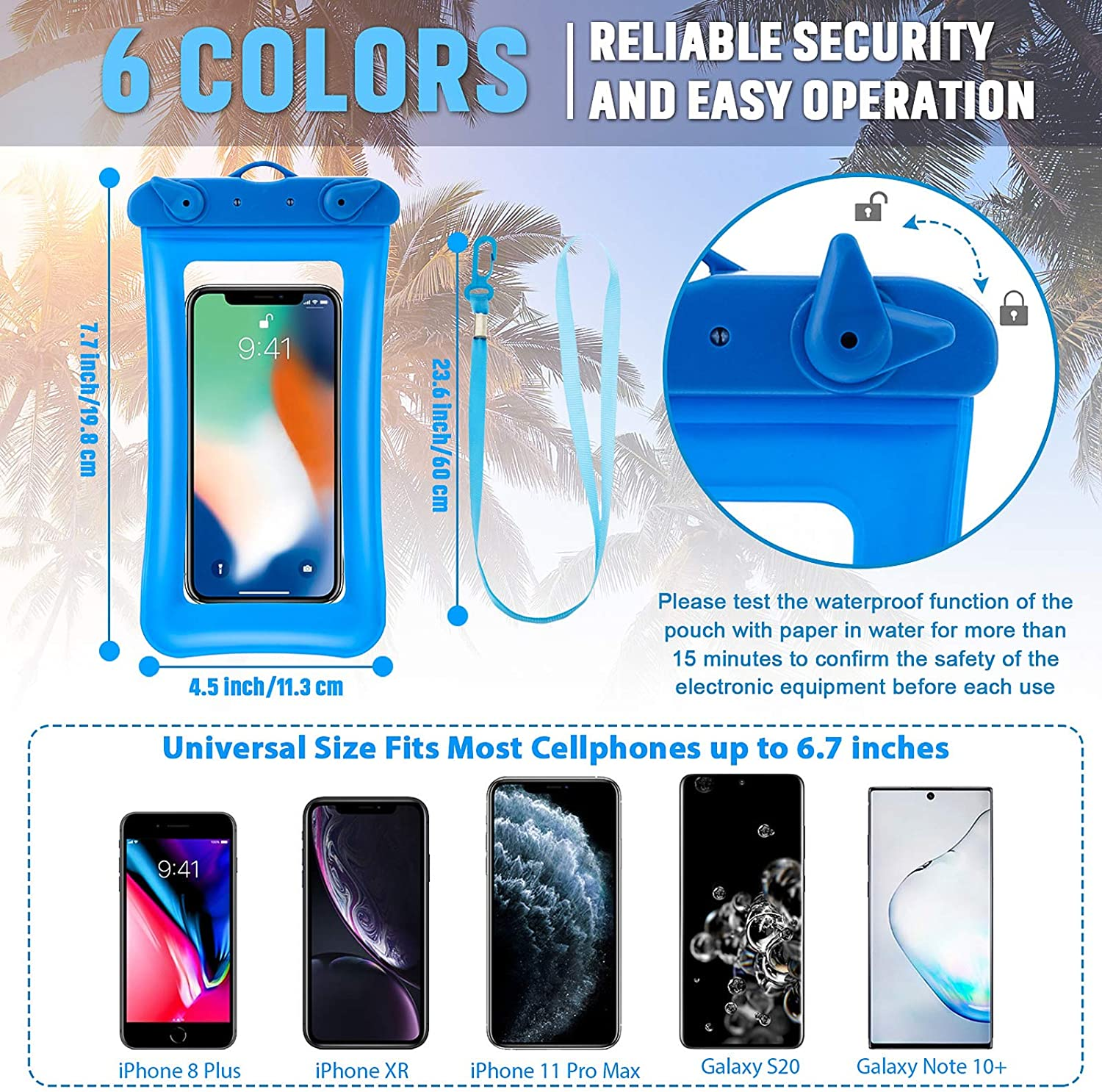 12 Pieces Floating Phone Pouch Floatable Phone Case Waterproof Cellphone Case Universal Cellphone Dry Bag with Lanyard Beach Swimming Snorkeling Bag for Smartphone up to 6.5 Inch (Assorted Color)