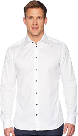 Slim Fit Twill Shirt w/ Navy Button