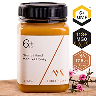 Three Peaks Manuka Honey New Zealand - Certified UMF 6+ - 17.6 oz (500gm) - 100% Natural honey, Raw honey – Ultra Premium, Healing Manuka honey