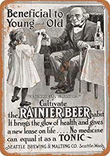 Bensun Nancy Rainier Beer for Children Tin Sign Wall Iron Painting Retro Plaque Vintage Metal Sheet Decoration Poster Funny Poster Hanging Crafts for Bar Garage Cafe Home