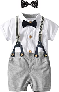 Baby Boy Gentleman Outfit Set, Short Sleeve Shirt 2Bow Ties Supender Overalls Clothes Set,Suitable for Kids