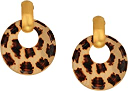 Giraffe Pattern Wood Hoop Doorknocker with Satin Gold Clutchless Post Top Earrings