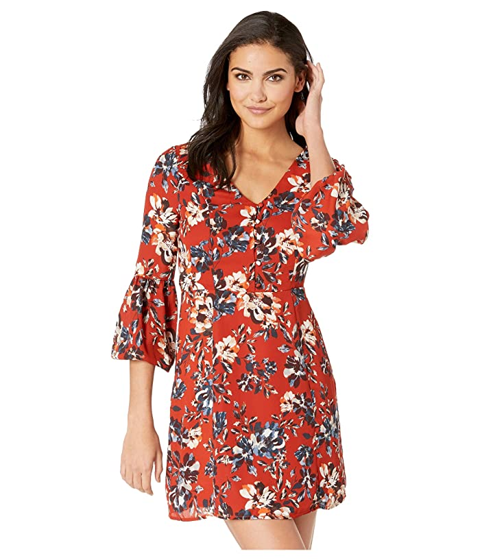 Jack by BB Dakota Beverly Laurel Heritage Floral Printed Crepe de Chine Dress (Rust) Women