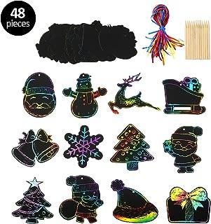 KATELUO Scratch Art Paper, 48 Hojas de Papel de Navidad dibujo scratch Craft Art Kits Santa Claus, Alces, Sombrero de Navidad, muñeco de Nieve, Para La Navidad Cumpleaños de Suministros Para Juegos
