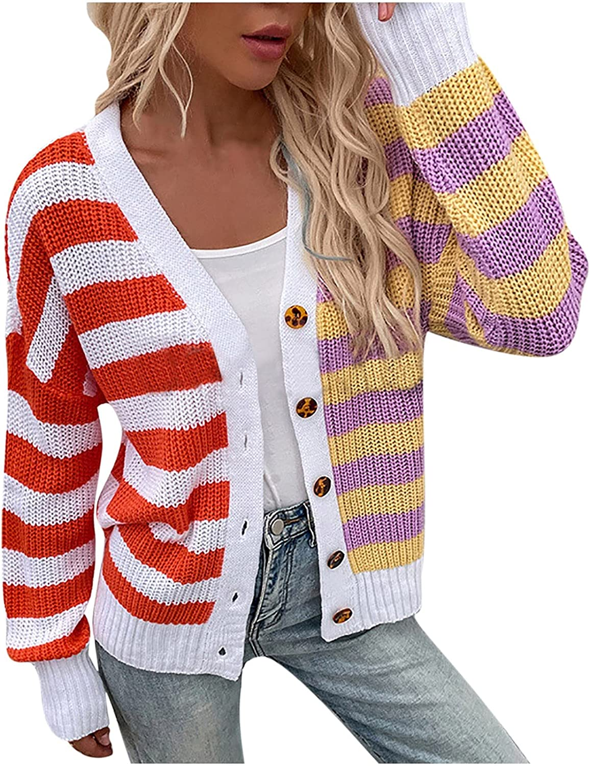 Women's Casual Stripe Buttons Cardigan Sweater Loose Color Block Fashion Tops Long Sleeve Knitted V-Neck Coat