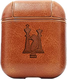 Chess Game Pieces (Vintage Brown) Engraved Air Pods Protective Leather Case Cover - a New Class of Luxury to Your AirPods - Premium PU Leather and Handmade exquisitely by Master Craftsmen