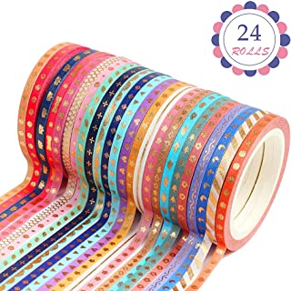 OWUDE Washi Tape Set,24 Rolls 3MM Wide Washi Masking Tape for DIY Crafts Art Projects Journal Scrapbook Decoration and Gif...