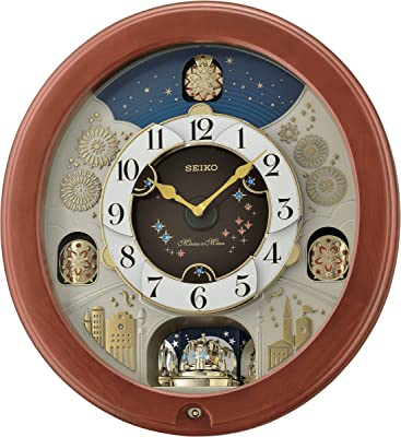 Seiko Bright Stary Night Melodies in Motion Wall Clock, Brown