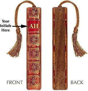 Monogrammed Wooden Bookmark - Antique Book Spine Design with Tassel