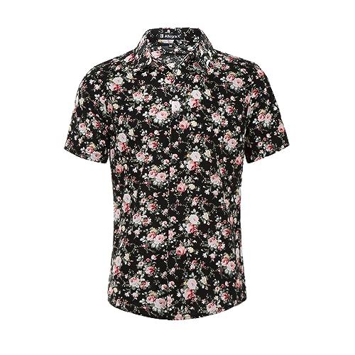 f50315f3287cc uxcell Men Short Sleeve Button Front Floral Print Cotton Beach Hawaiian  Shirt