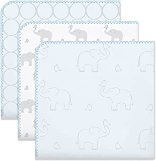 SwaddleDesigns Ultimate Swaddles, Set of 3, X-Large Receiving Blankets, Made in USA Premium Cotton Flannel, Mod Circles and Elephants, Sunwashed Blue (Mom's Choice Award Winner)