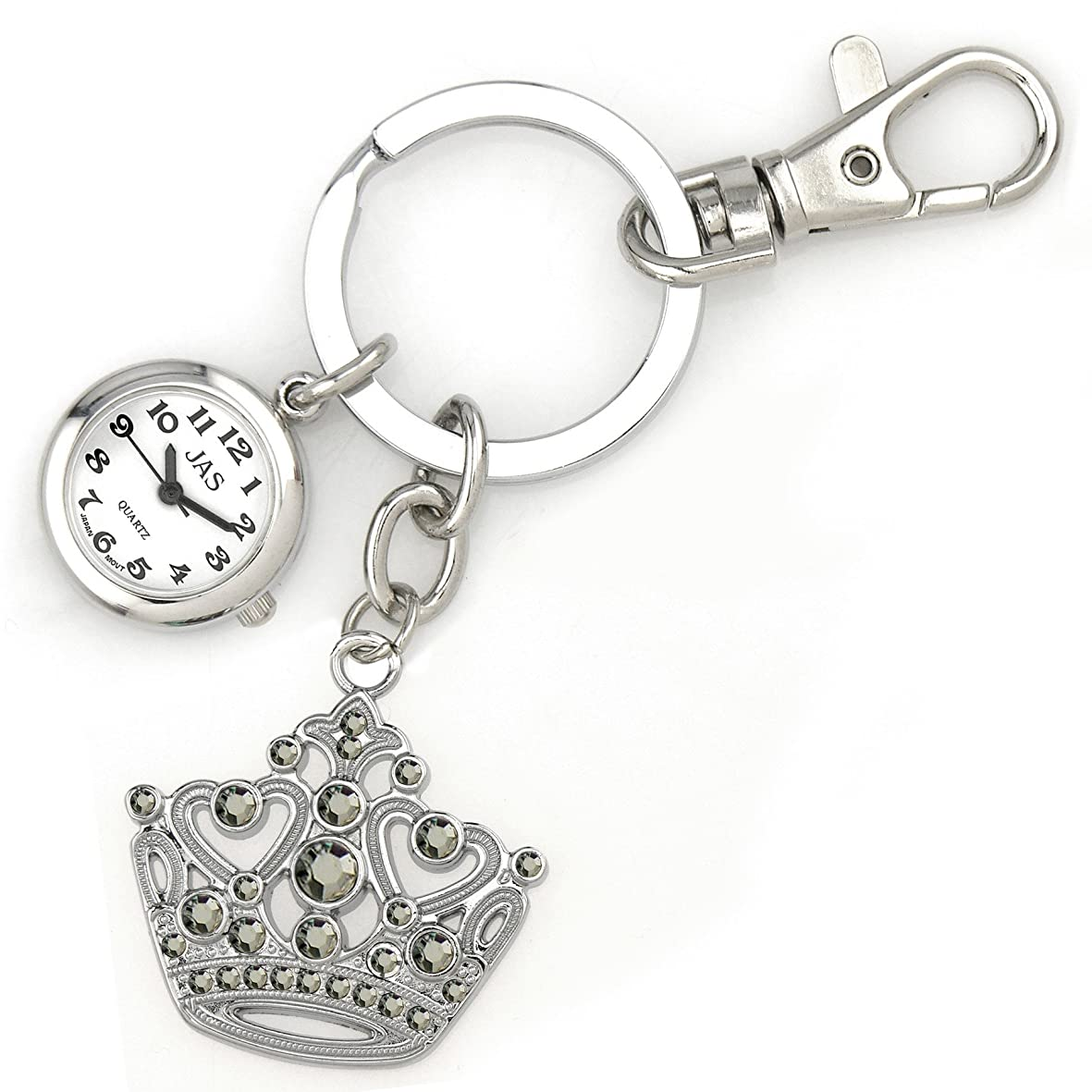日付スペースなにJasユニセックスNovelty Belt Fob/Keychain Watchクラウンシルバートーン