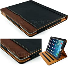 S-Tech New Black and Tan Apple iPad Air 9.7 Model Soft Leather Wallet Smart Cover with Sleep/Wake Feature Flip Case
