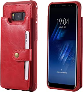 Galaxy S8 Plus S8+ Leather Case,Wallet Red Protective Wrist Hand Cash Credit Card Slot ID Window Durable Women Men Magnetic Snap with Stand Cover Shell for Samsung S8P 6.2