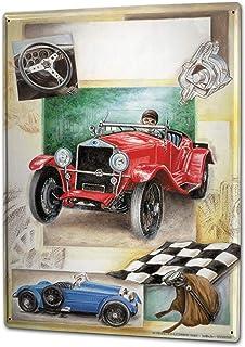 "Tin Sign Nostalgic Car Retro Vintage Race car Checkered Flag Vintage 16""x12"" Man Cave/Man Cave Decor/Garage Decor/Wall Art"