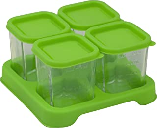 green sprouts Fresh Baby Food Glass Cubes (4 Pack, 4 Oz) | Store, carry, heat, & serve homemade baby food | Tempered glass is durable & shatter-resistant, Lid provides leak-proof seal, Dishwasher safe